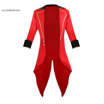 Charmian Men's Halloween Cosplay Costume Retro Red Tailcoat Jacket Vintage Swallow-tailed Coat Carnival Costume