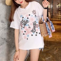 """Versace"" Women Casual Fashion Logo Embroidery Short Sleeve T-shirt Tops Tee"