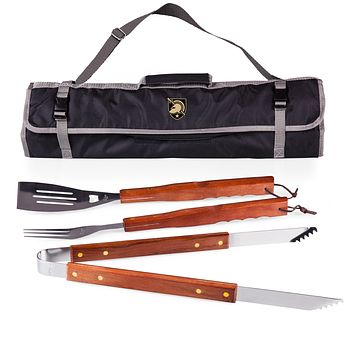 West Point Black Knights 3-Pc BBQ Tote & Tools Set-Black Digital Print