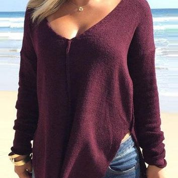 Woman's Eggplant Purple V-Neck Casual Long Sleeve Side Split Blouse