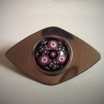 Vintage 60's Italian Brooch Stainless Steel with Purple Abstract Art Glass
