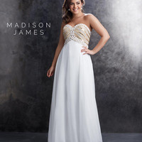 Madison James 15-209W Ivory Plus Size Strapless Chiffon Beaded Gown Prom 2015