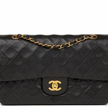 CHANEL BLACK QUILTED 2.55 LAMBSKIN VINTAGE MEDIUM CLASSIC DOUBLE FLAP BAG GHW S1