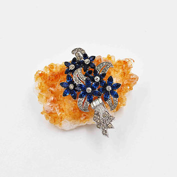 Vintage Otis Sterling Silver & Rhinestone Floral Spray Brooch, Art Deco, Sapphire Blue, Flowers, Leaves, Stylized, Stunning! #c457