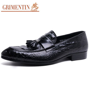 fashion crocodile designer genuine leather men shoes luxury loafers black brown male casual shoes men