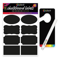 Colore Chalkboard Labels - For Bakery and Cookie Boxes, Biscotti Jar, Bedroom Storage Container, Kitchen Cabinet - FREE Chalk Pen & Door Hanger - Kids Clothing, Shoe, Garage & Desk Organizer - 48 Pack