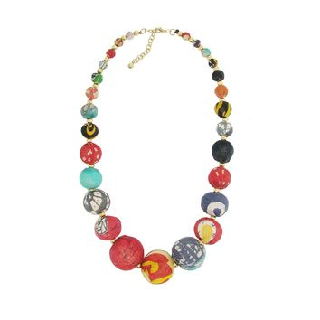 Kantha Graduated Bead Necklace Made of Repurposed Kantha Textile Beads