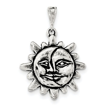 Sterling Silver Antiqued Sun & Half Moon Face Pendant QC8575
