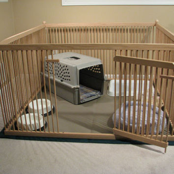 Furniture-quality Small Dog Exercise Pen - READY-to-FINISH Solid Red OAK, floor included.