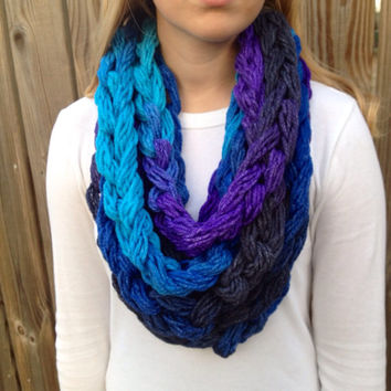OOAK Dash Twilight Wrapped Infinity Chain Scarf, Chain Scarf, Infinity Scarf