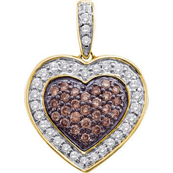 Cognac Diamond Heart Pendant in 14k Gold 0.5 ctw