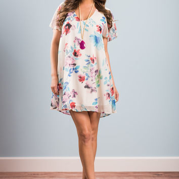 Leaning On Love Dress, White