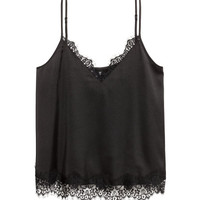 Satin Camisole Top with Lace - from H&M