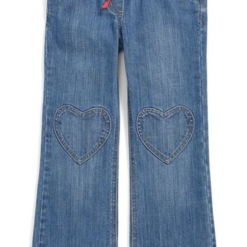 Girl's Mini Boden Heart Patch Pants,