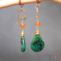 "Carnelian linked with turquoise, 1-1/2"" Earring Gold Or Silver"