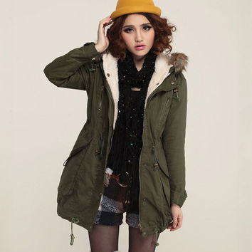 Army Green Big Fur Collar Hooded Padded Fall Coat