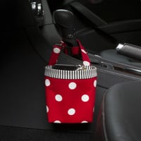 Car Cellphone Caddy ~ Red Polka Dots ~ Black Striped Band ~ Center Console Handle