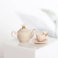 Gentle Beige Bird Collection Teapot and Cup - Dollhouse - Miniature Tableware  - 12th Scale