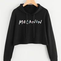 Letter Print Drawstring Crop HoodieFor Women-romwe