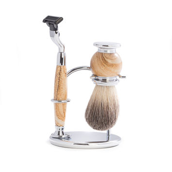 """""""Mach 3"""" Razor & Pure Badger Brush on Chrome with Tan Stone Stand"""