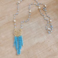 Blue Tassel Necklace