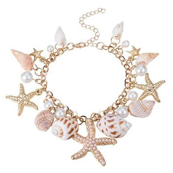 Fashion Sea Shell Starfish Faux Pearl Collar Bib Statement Chunky Bracelets