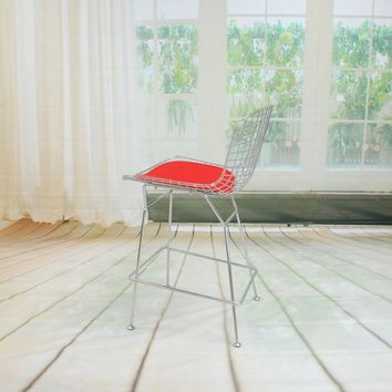 Chrome Wire Counter Stool Red Leatherette Seat