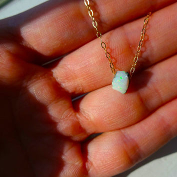 Rough Opal Pendant and 925 Sterling Silver or 14k Gold Fill Chain Necklace