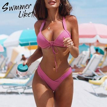 Push up pink bikini 2019 Ribbed high cut swimsuit female swimwear String sexy bathing suit women Micro two-piece suit Beach wear