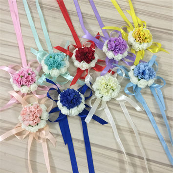 1 pieces/lot Diy Artificial Posy Rose Flower Bride wrist Corsages Women Wrist Bracelet Wedding Flowers Home Party Decoration