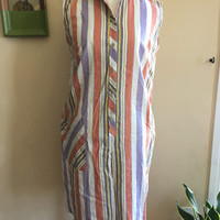 80s Striped Button Front Romper Size Large