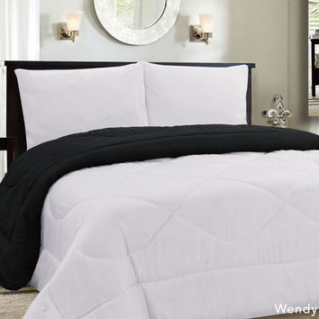 Down Alternative Reversible Comforter White/Black