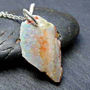 black opal pendant raw crystal, raw Australian opal necklace silver, mens opal pendant arrowhead, opal anniversary gift October Birthstone