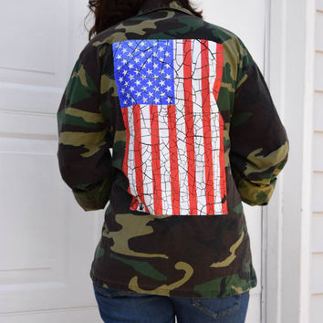 Reworked Broken American Flag Army Camo Green Jacket All Sizes Available