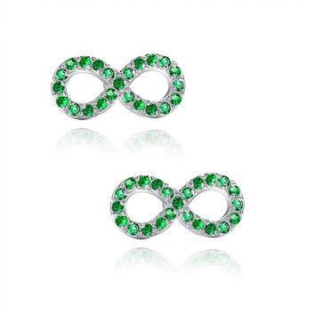 Infinity W. Green Cubic Zirconia Stud Earrings