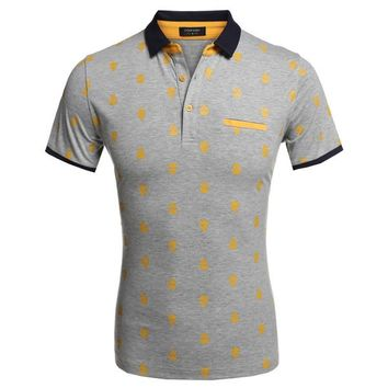 COOFANDY Brand Embroidered Skull Men's Polo Shirt