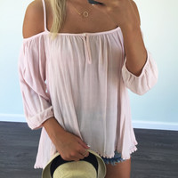 Twice Shy Light Pink Open Shoulder Blouse