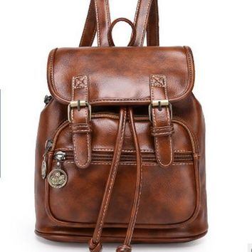 Vintage Women's Small Faux Leather brand Backpack Rucksack Travel Casual Satchel Bag travel bag backpack