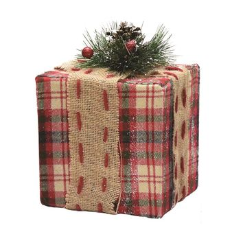 """6.25"""" Square Red Brown and Green Plaid Gift Box with Pine Bow Table Top Christmas Decoration"""