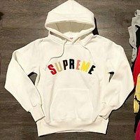"""Supreme"" Couple Casual Letter Long Sleeve hooded Pullover Sweatshirt Top Sweater hoodie I-JJ-LHYCWM"