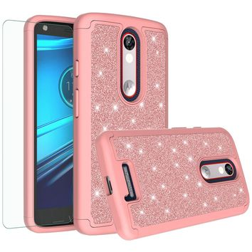 Motorola Droid Turbo 2 Case | Moto X Force Case | Kinzie Bounce Case, Glitter Bling Heavy Duty Shock Proof Hybrid Case with [HD Screen Protector] Dual Layer Protective Phone Case Cover for Motorola Droid Turbo 2/X Force/Kinzie Bounce - Rose Gold