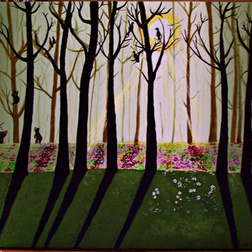 Original Acrylic Three Bears Imagination Forest Painting 20x16 Wrapped Canvas  morning Folk Art Landscape Nature
