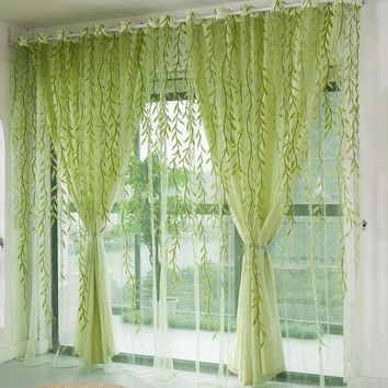 1Pcs Green Willow Sheer Curtain For Living Room Window Blackout Curtains Home Decor Draperies Drapes Green Organza Tulle Curtain