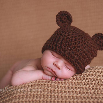 Baby Bear Hat newborn Brown Bear hat 0-3 month bear hat Crochet bear hat girl or boy photo prop Newborn Custom colors Baby Photography Prop