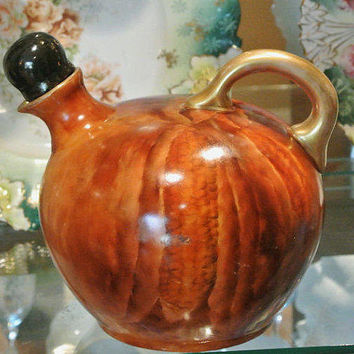 RARE Antique Count Thun Whiskey Jug 1800s Austria Vienna Hand Painted Porcelain with Stopper Austrian Victorian Decanter Pitcher Ear Corn