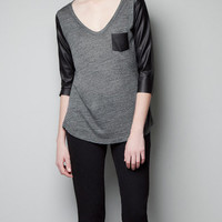 T-SHIRT WITH FAUX LEATHER DETAILS - T-shirts - Woman - ZARA United States