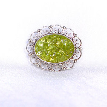 Silver Brooch with Peridot lime green Brooch Gemstone Brooch lime green silver