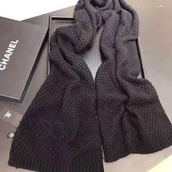 Chanel Women Cashmere Warm Winter Knit Cape Scarf Scarves