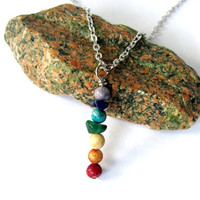 Chakra Necklace Stone Reiki Pendant Seven Chakras Natural Zen Jewelry by Hendywood