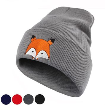 Womens Cute Kawaii Fox Embroidered Black Navy & More Beanie Hats
